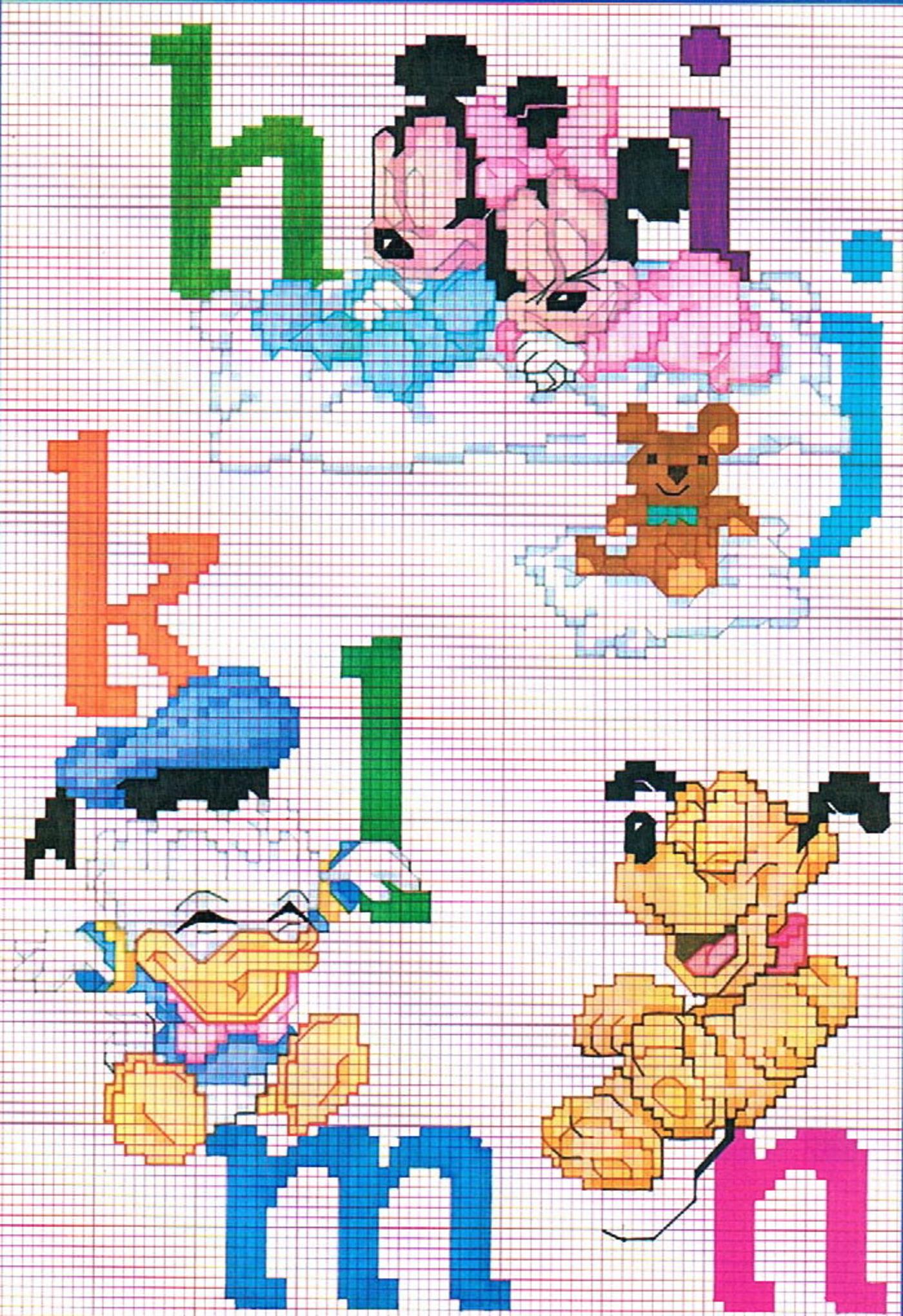 Alfabeto baby disney punto croce 2 for Alfabeto punto croce disney gratis
