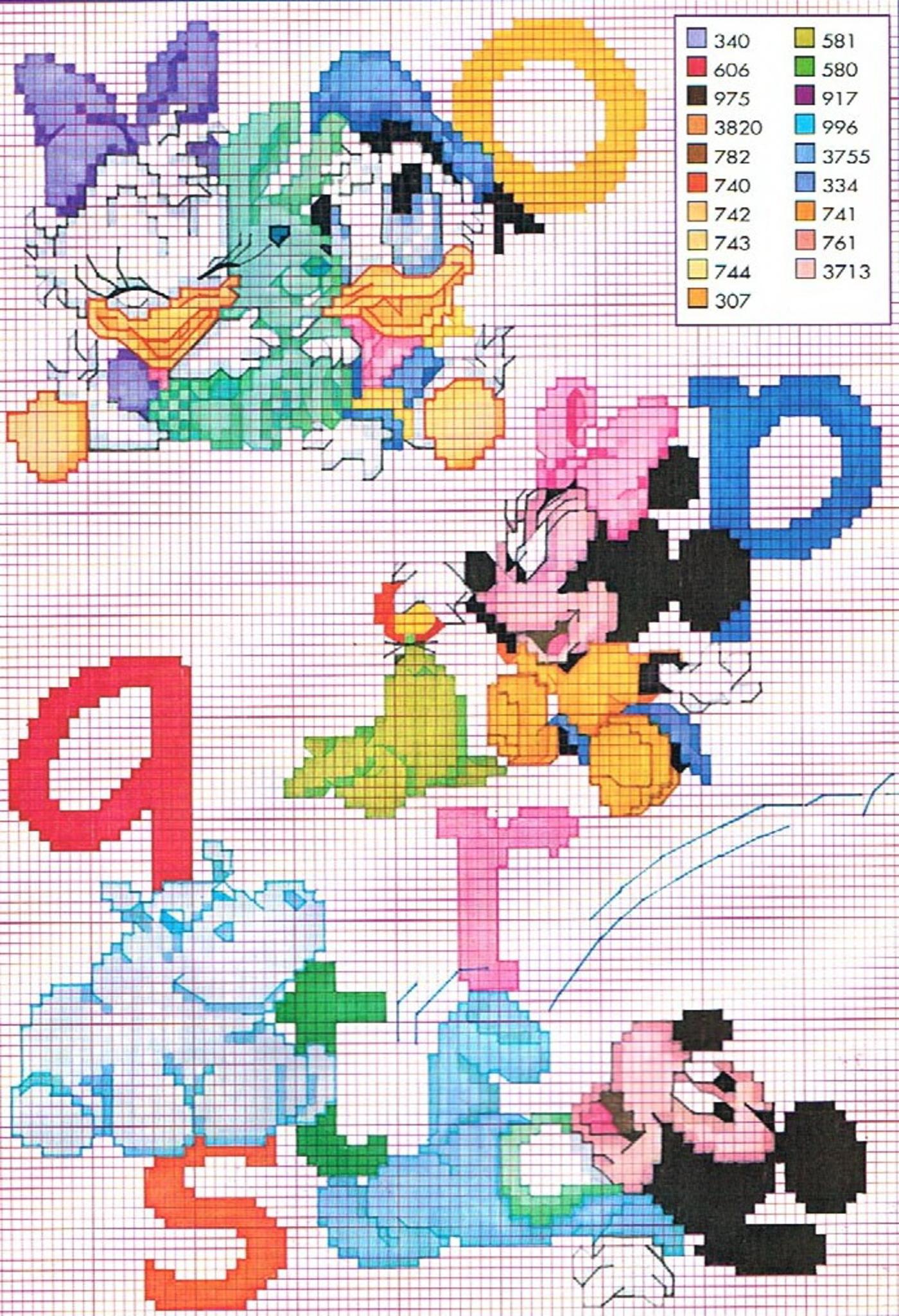 Alfabeto baby disney punto croce 3 for Alfabeto disney a punto croce