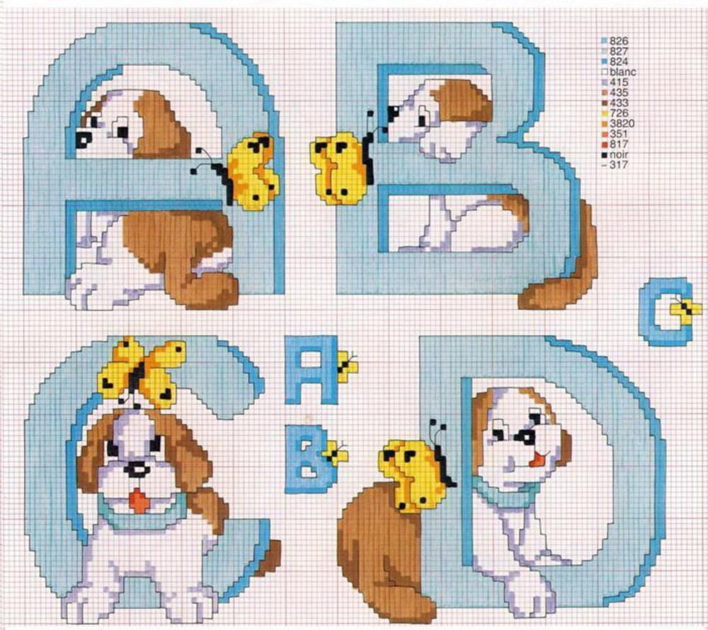 Alfabeto con i cagnolini schema punto croce gratis (1)