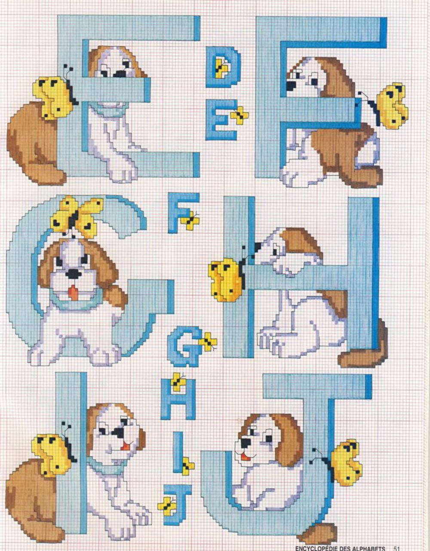 Alfabeto con i cagnolini schema punto croce gratis (2)