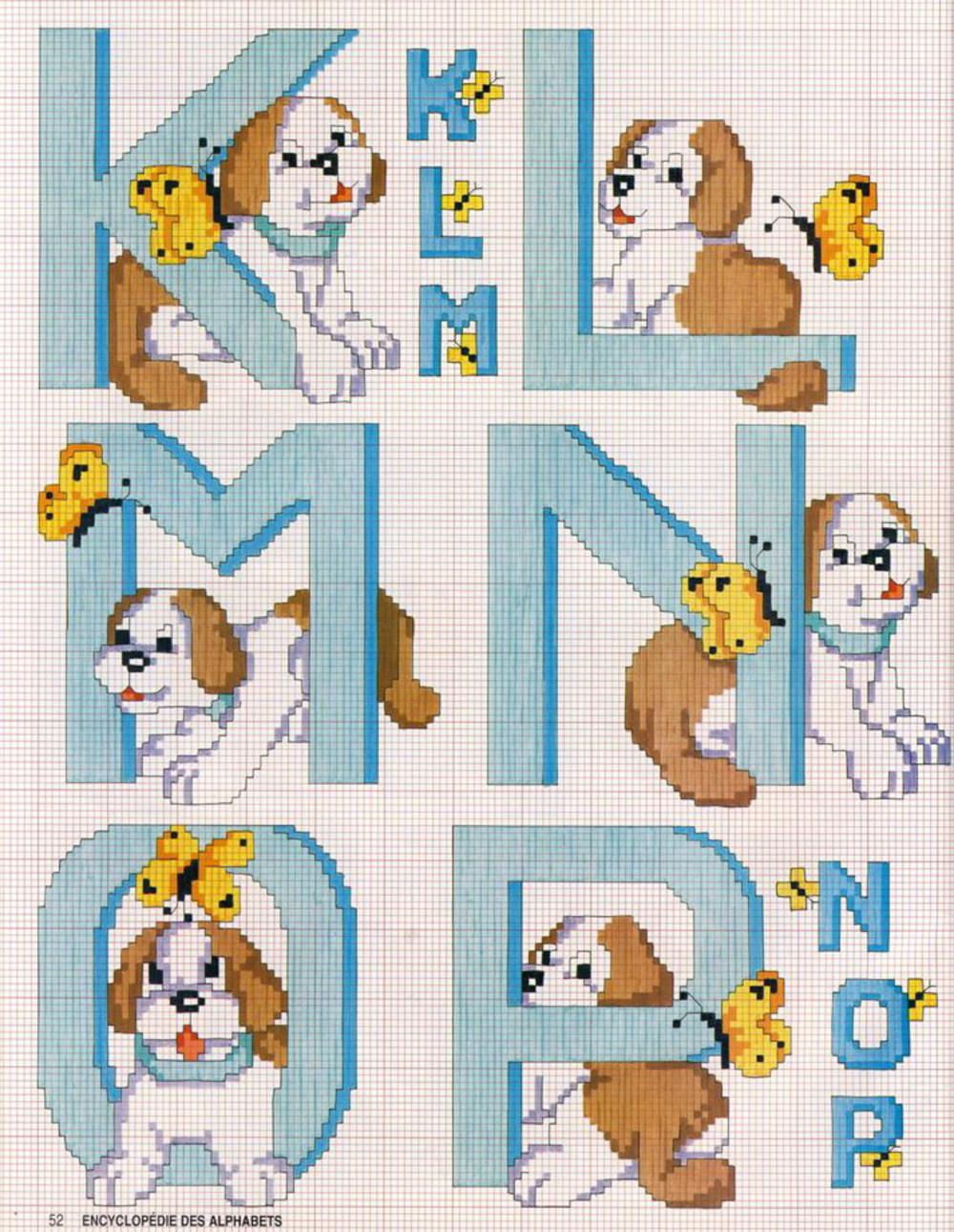 Alfabeto con i cagnolini schema punto croce gratis (3)
