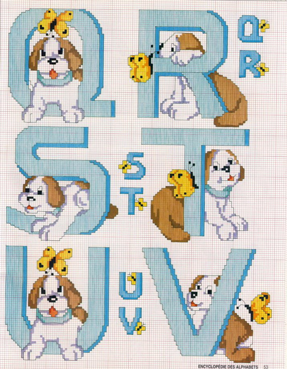 Alfabeto con i cagnolini schema punto croce gratis (4)