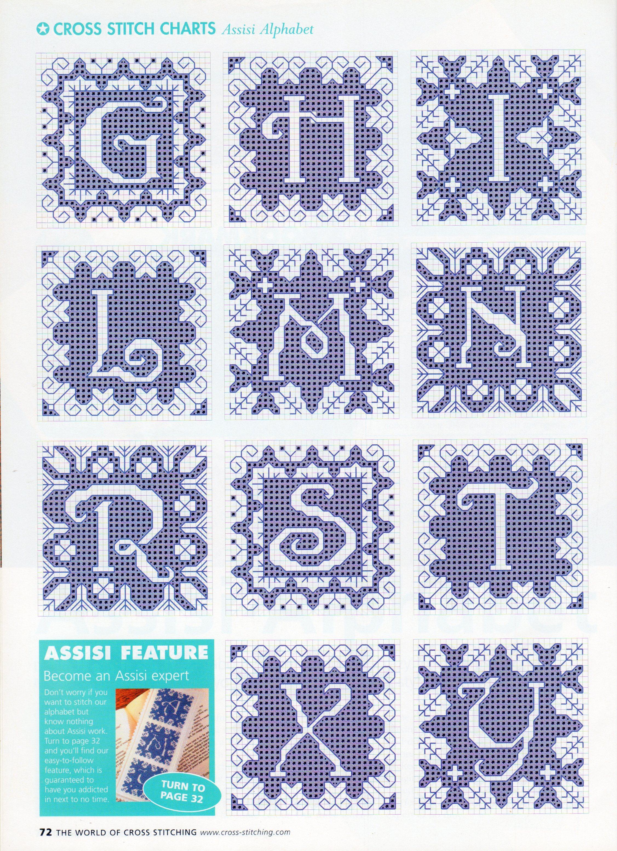 Alfabeto elegante blu schema punto croce (2)