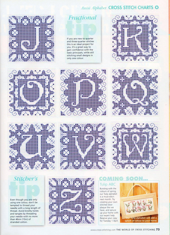Alfabeto elegante blu schema punto croce (3)
