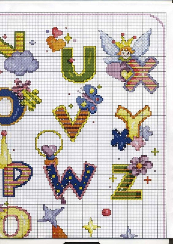 Alfabeto punto croce maiuscolo con le fatine 2 for Alfabeti a punto croce per bambini