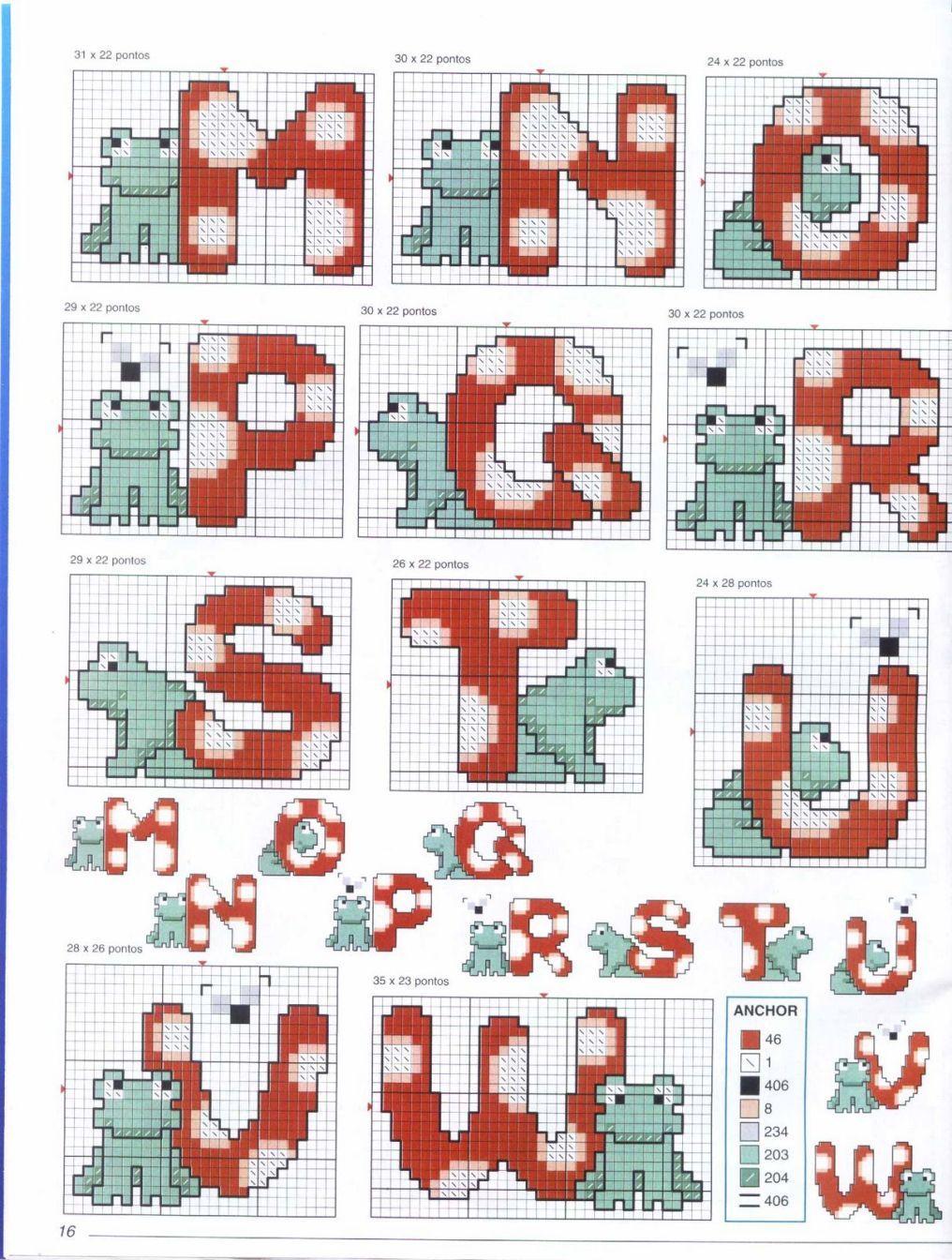 Un delizioso alfabeto punto croce floreale 1 for Schemi punto croce alfabeto bambini