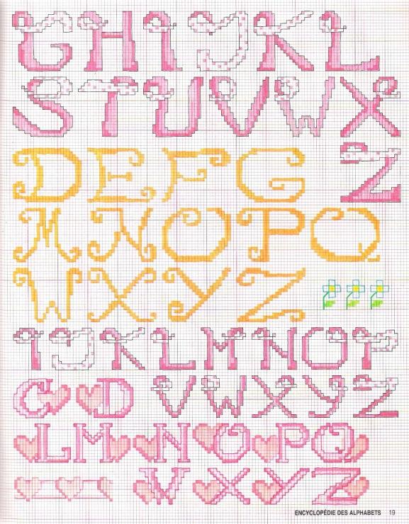 Alfabeto punto croce per fiocco nascita for Alfabeto punto croce grande