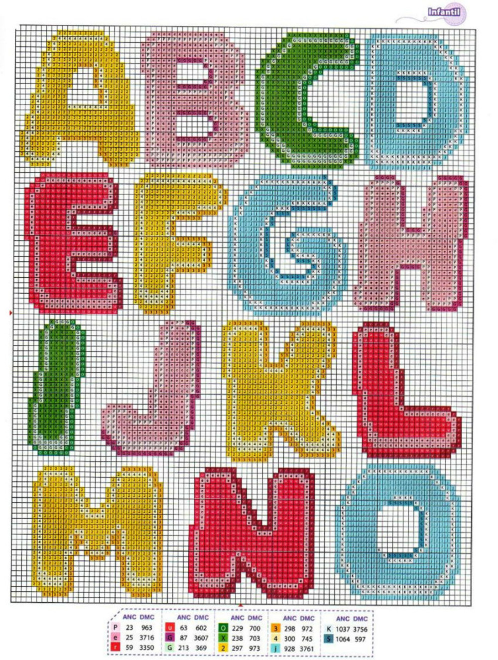 lettere dell 39 alfabeto schemi punto croce bambini 2