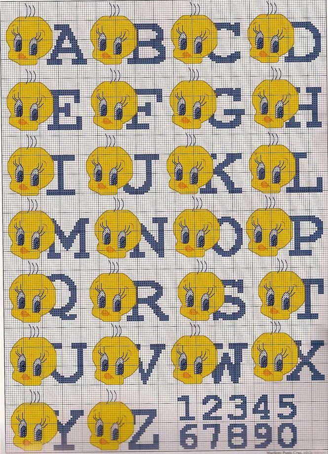 Simpatico alfabeto da ricamare con Titti