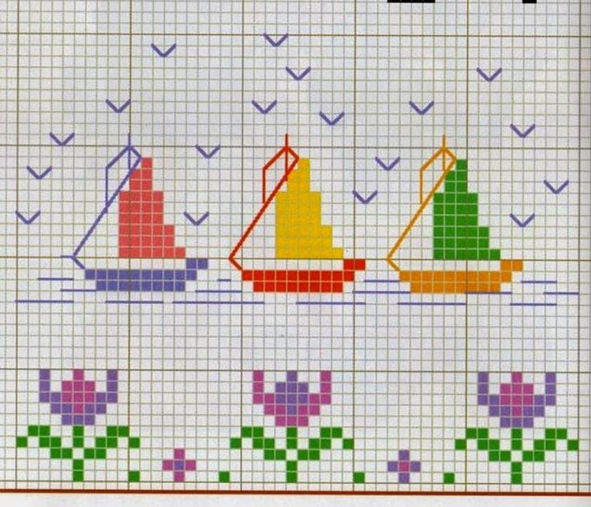 Barche E Navi Schemi Punto Croce Gratis Bavaglini 1