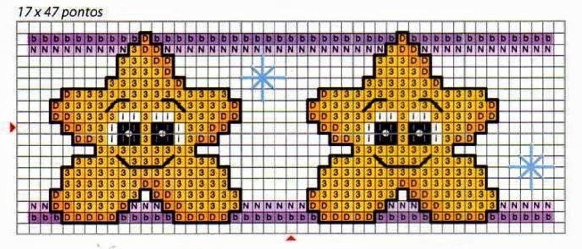 Stelline punto croce adatte a bavaglini (1)