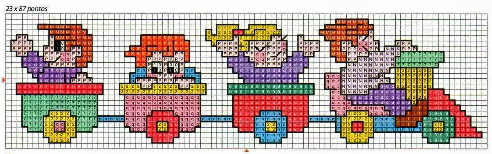 Trenini schemi punto croce piccoli per bavette asilo 2 for Schemi punto croce per bavaglini