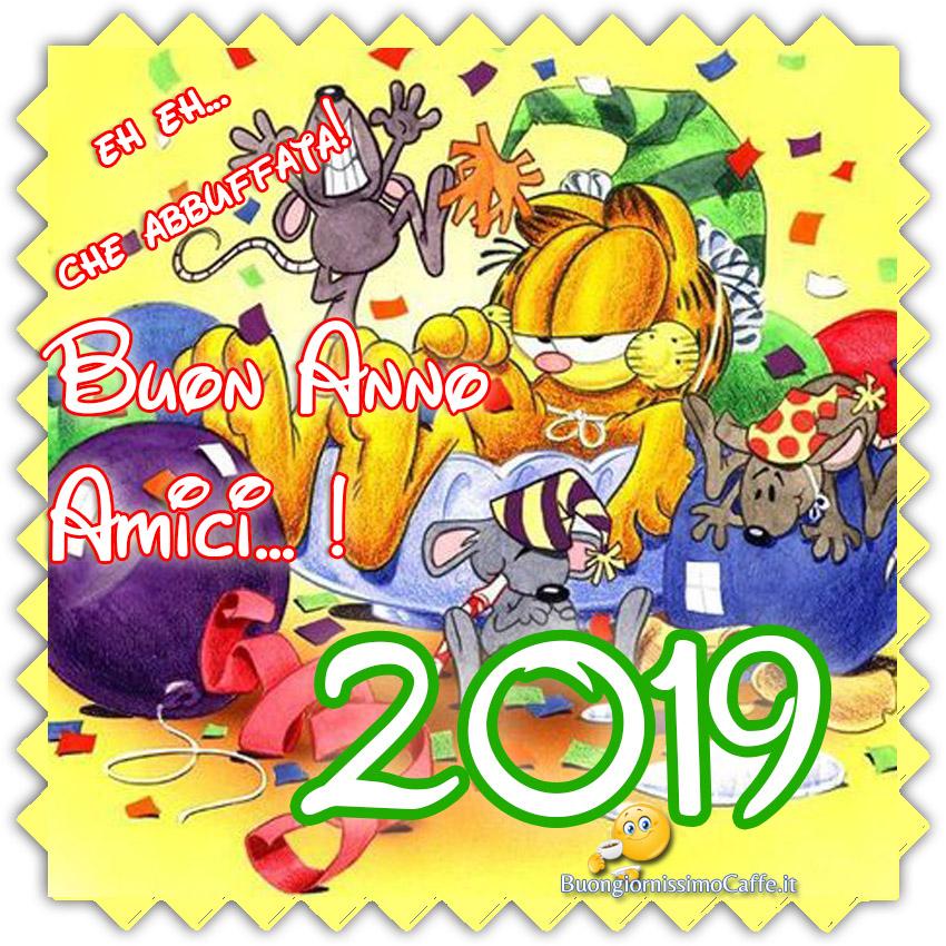 Buon Anno 2019 amici immagini divertenti con garfield